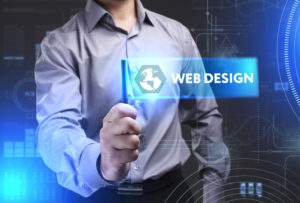 a graphic with a man holding a webdesign sign.